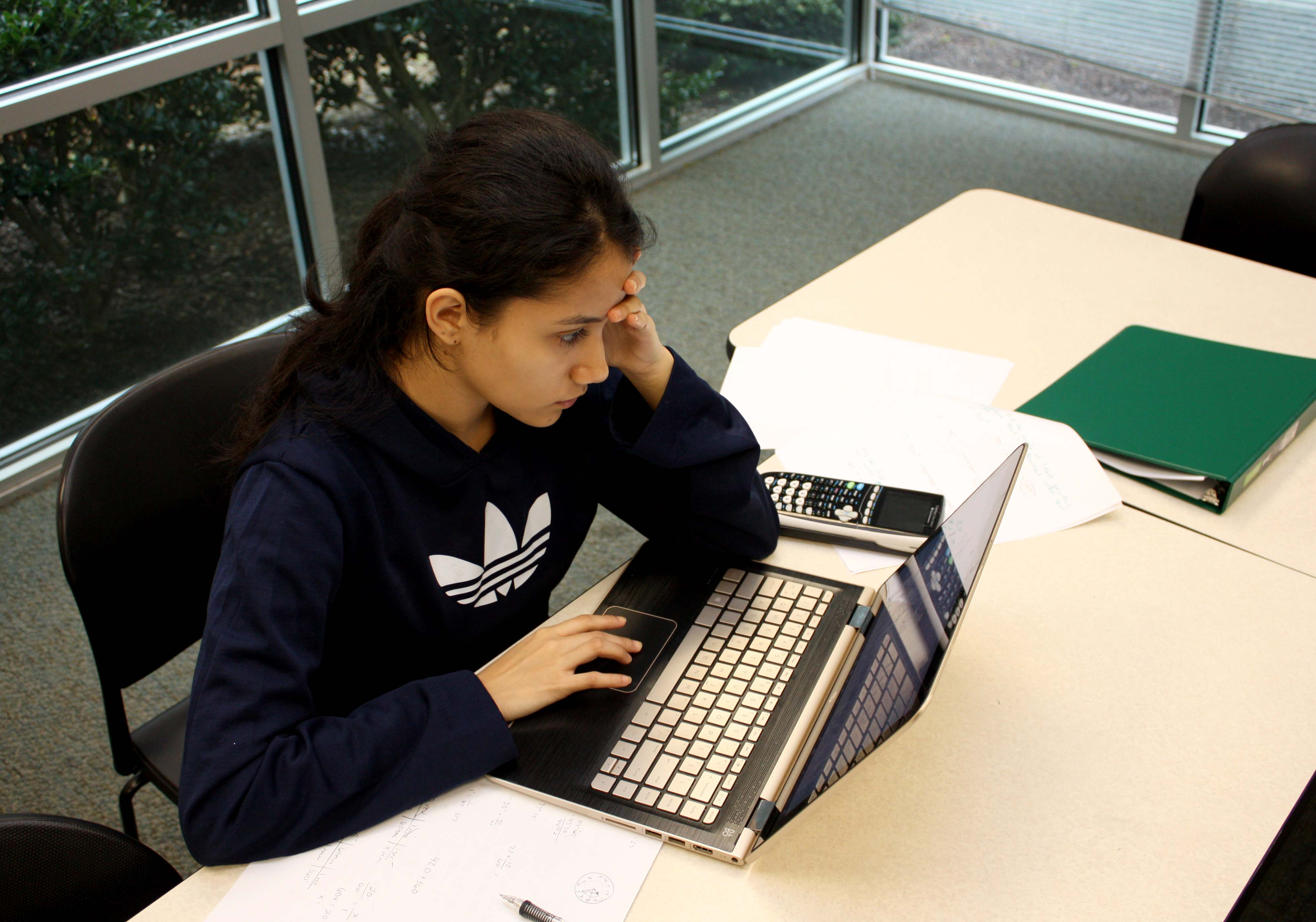 Student studying in BCCC library